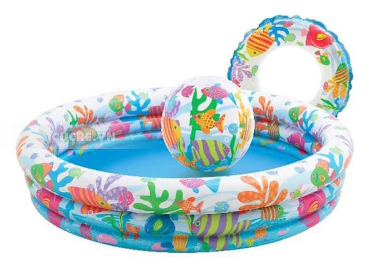 bể bơi phao, bể bơi bơm hơi tròn 3 tầng in hoạt hình ngộ nghĩnh